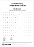 Farm Animal worksheet - word search