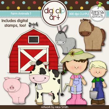 Farm Animals 1-  Digi Clip Art/Digital Stamps - CU Clip Art