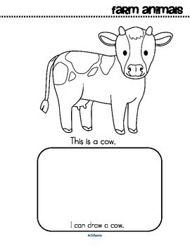 Farm Animals Activity Printables for Preschool, Read Color and Draw, Make a Book