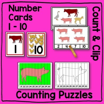 Farm Animal LARGE Math Center BUNDLE
