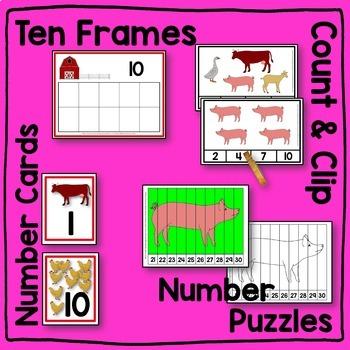 Farm Animal HUGE Math Center BUNDLE
