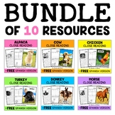 Farm Animal Close Reading Passages Bundle