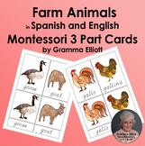 Montessori - Farm Animals 3 Part Cards in Spanish and English