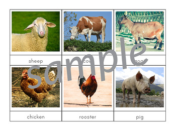 Farm Animals 3-Part Cards