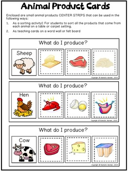 Farm Animals- ANIMAL PRODUCT AND HOMES- LITERACY CENTER MATS