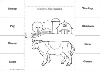 Farm Animals Activity: Interactive Notebook Foldable/ Coloring Book