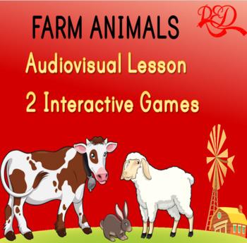 Farm Animals Powerpoint Whiteboard Interactive Lesson + 2 Games **31 Slides**
