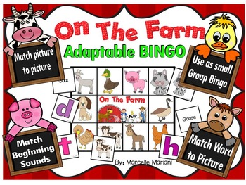 Farm Animals- BINGO GAME- ADAPTABLE- Pictures, Beginning Sounds+ Words