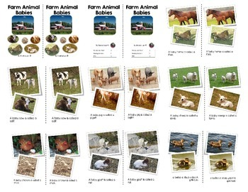 Farm Animals and Baby Farm Animals Emergent Readers Pack With Worksheets