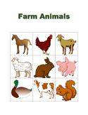 Farm Animals in English Bingo