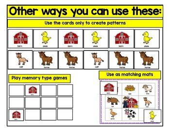 Farm Animals Bingo Literacy Center Activity
