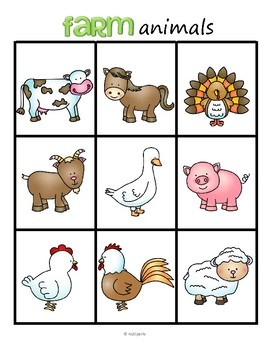 Farm Animals Bingo for Preschool and Pre-K