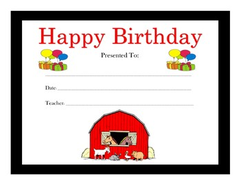 Farm Animals Birthday Certificates (Includes 6 Certificates)