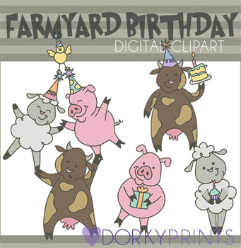 Farm Animals Birthday Digital Clip Art