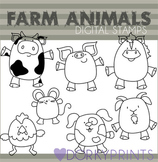 Farm Animals Black Line Art