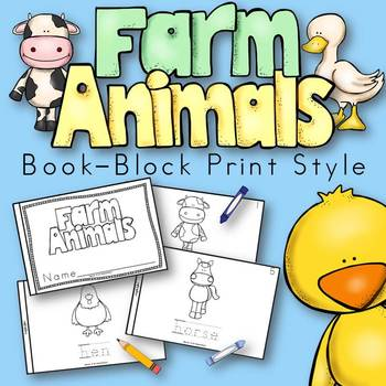 Farm Animals Book for Kindergarten and 1st Grade {Block Print Style}