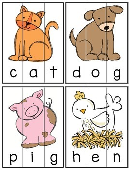 Farm Animals - Building CVC Words