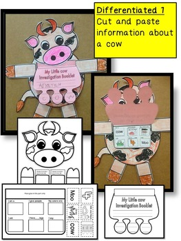 COW Craftivity and Farm Investigation Booklet for a farm unit