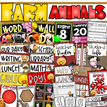 Farm Animals Class Decor Bundle (Posters, Binder Covers, Schedule, Calendar)