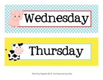 Farm Animals Classroom Decor Days of the Week Calendar Headers