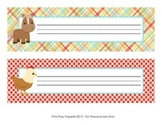 Farm Animals Classroom Decor Desk Name Plates