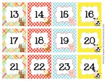 Farm Animals Classroom Decor Monthly Calendar Numbers