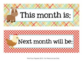 Farm Animals Classroom Decor Monthly Calendar Headers