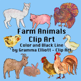 Farm Animals Clip Art Color and Black Line Realistic Clips