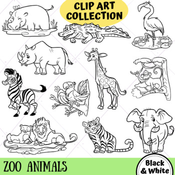Zoo Animals Clip Art Collection Black And White Only By Keepinitkawaii