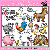 Farm Animals Clip Art: cow, pig, chicken, goat, horse, turkey, sheep, cat, dog