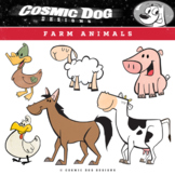 Farm Animals Clip Art Set - Fun Cartoon Characters
