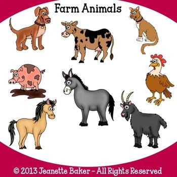 Farm Animals Clip Art by Jeanette Baker