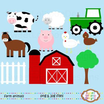 Farm Animals Clip Art or Clipart - Farm Clip Art - Cow Pig Horse Sheep Tractor