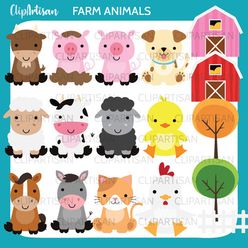 Farm Animals Clip Art by ClipArtisan | Teachers Pay Teachers