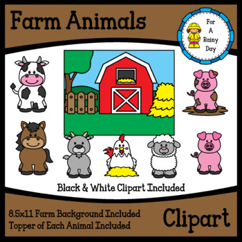 Farm Animals Clipart With Farm Background Farm Animal Toppers