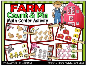 Farm Animals- Count & Pin Math Center Game- Color + Black and white