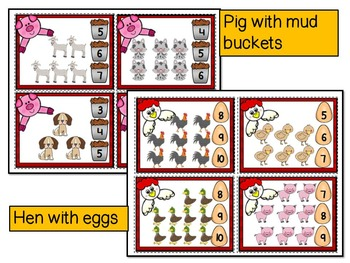 FARM ANIMAL MATH CENTER- Count & Pin Math Center Game- Color and Black and white