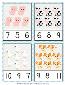 Farm Animals Count and Clip Cards Numbers 1-12