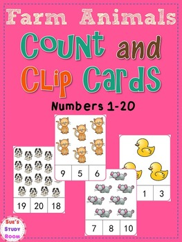Farm Animals Count and Clip Cards (Numbers 1-20)