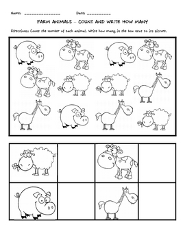 Farm Animals Count And Write How Many By Callie Redden Tpt