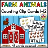 Farm Animals Counting Clip Cards 1-12