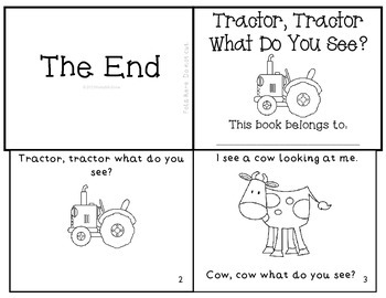 """Farm Emergent Reader """"Tractor, Tractor What Do You See?"""""""