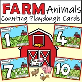 Farm Animals Counting Playdough Cards