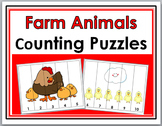 Farm Theme - Farm Animals Counting Puzzles - Numbers 1-10