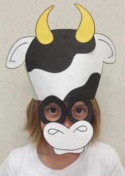 Farm Animals Cow Sentence Strip Hat Mask