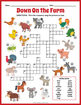 Farm Animals Crossword Puzzle By Puzzles To Print Tpt