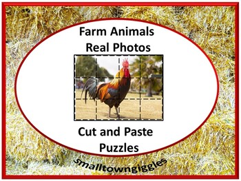 Distance Learning Farm Animals Cut/Paste Puzzles Using Real Photos PreK, K,