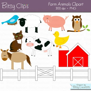 Farm Animals Digital Art Set INSTANT DOWNLOAD Animal Clipart Farm Clipart