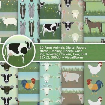 Farm Animals Digital Paper, 10 Printable Barn Animal Patterns