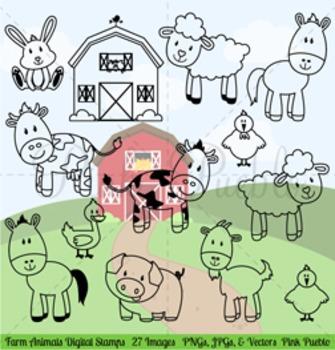Farm Animals Digital Stamps, Farm Animals Clipart, Farm Animals Clip Art